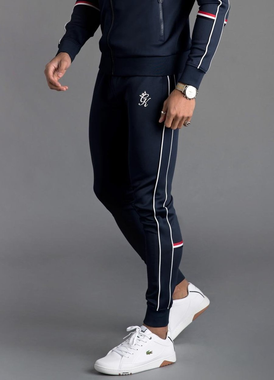 GK Diego Retro Taped Poly Tracksuit Bottoms - Navy Nights - ZANMODA