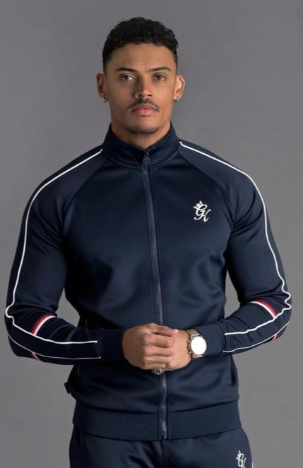 GK Diego Retro Taped Poly Funnel Neck Tracksuit Top - Navy Nights