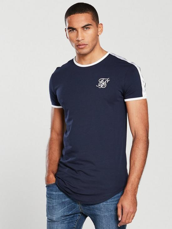 SikSilk  S/S Curved Hem Taped Gym Tee – Navy