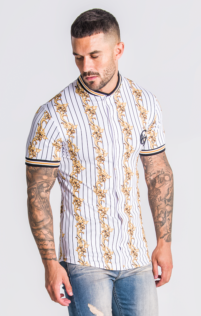 White Baseball Baroque Shirt - ZANMODA