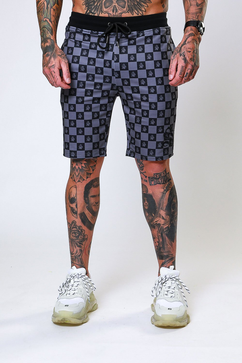 Grey Checkerboard Jersey Shorts - ZANMODA