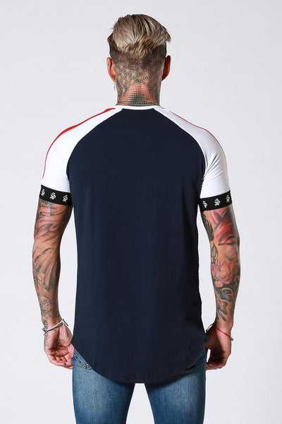 Retro Raglan Tee  - Navy/Red