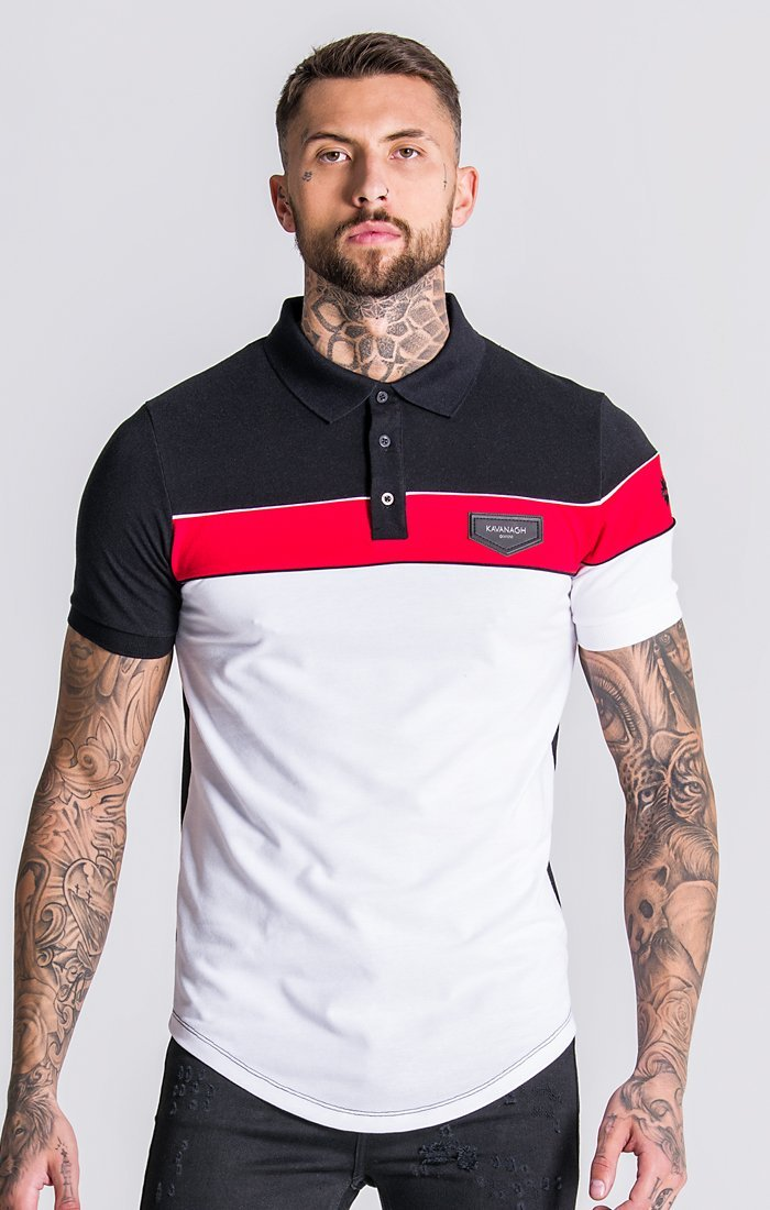 White Asymmetric Block Polo With Piping Detail