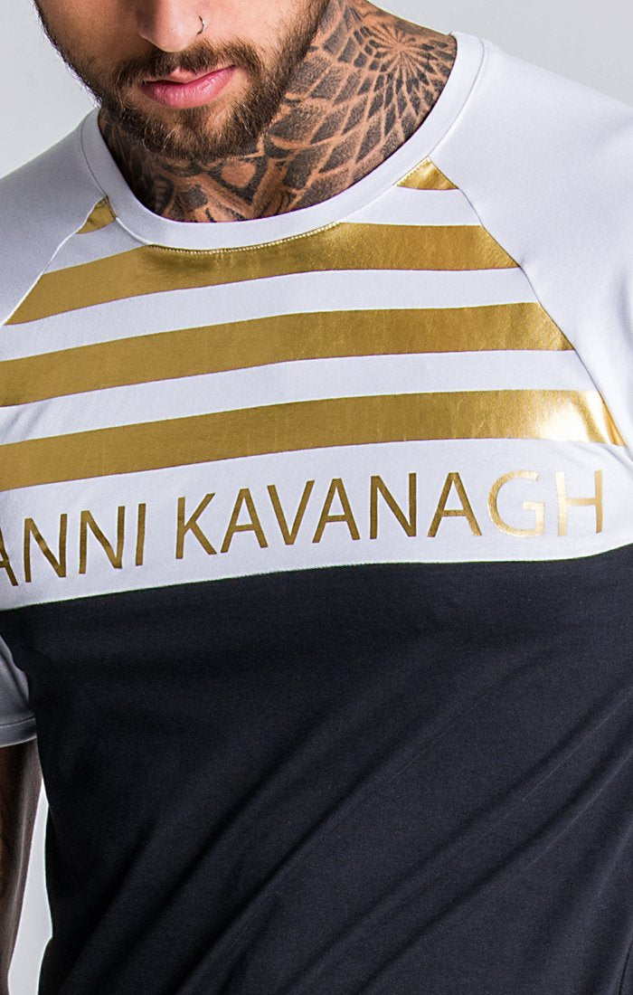 White/Black Tee With GK Gold Stripes - ZANMODA
