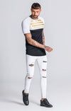 White/Black Tee With GK Gold Stripes