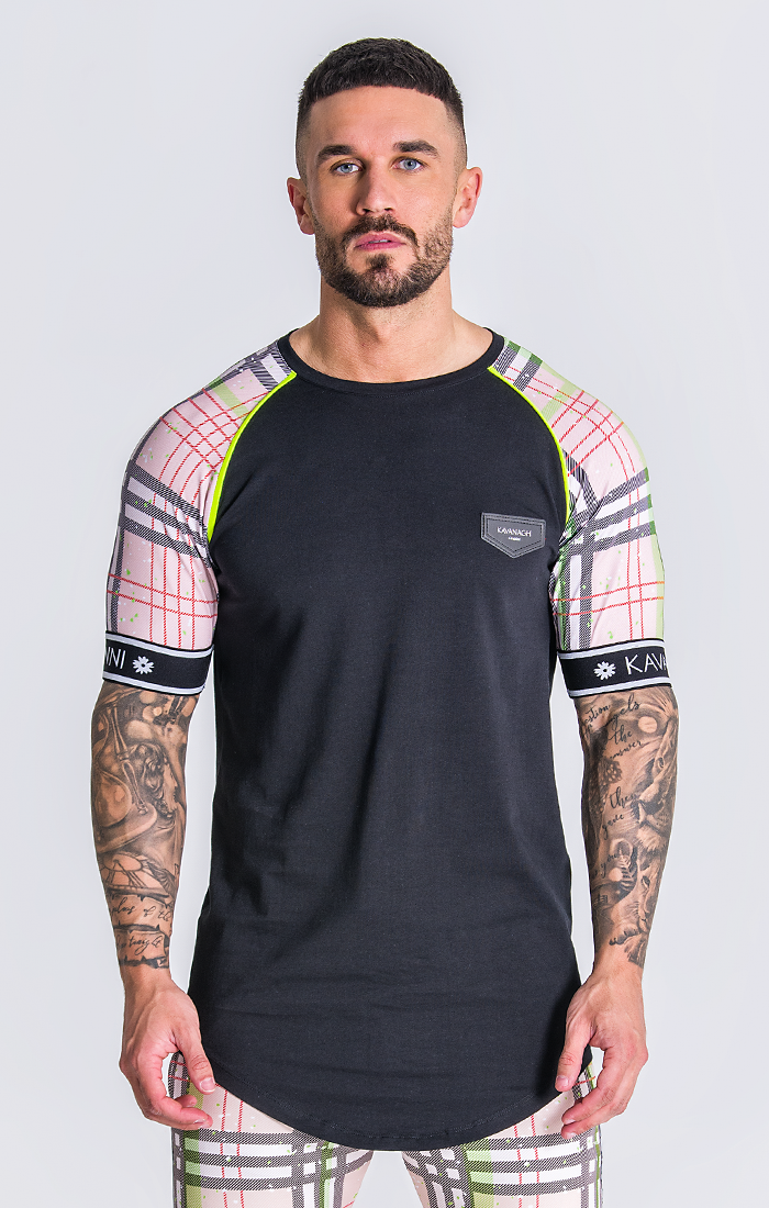 Black And Green British Tartan Raglan T-Shirt - ZANMODA