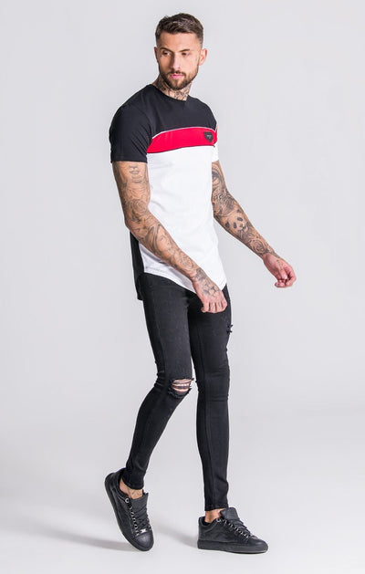 White Asymmetric Block Tee With Piping Detail
