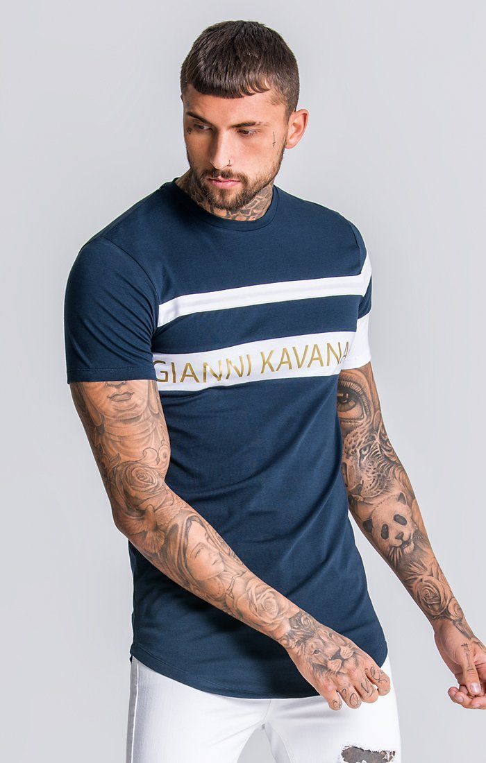 Gold GK Asymmetric Block Tee In Navy Blue