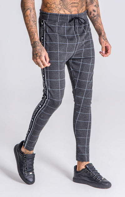 Grey Checkered Pants With GK Black/White Ribbon