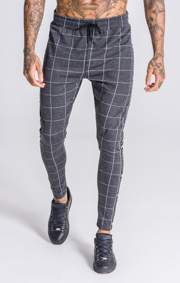 Grey Checkered Pants With GK Black/White Ribbon - ZANMODA