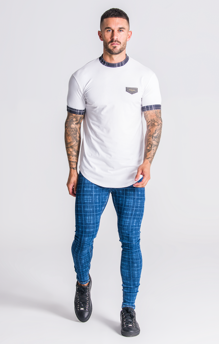 White T-Shirt With Black Tartan Details - ZANMODA