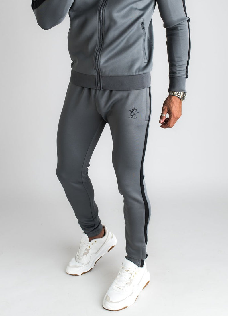 GK Basis Poly Tracksuit Bottoms  - Dark Grey /Black