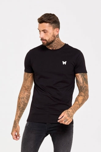 Fitted T-Shirt with Butterfly and Micro Taping - Black - ZANMODA