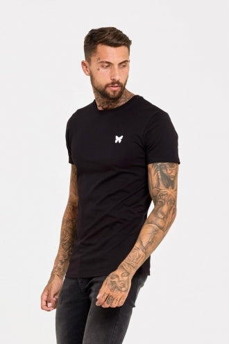 Fitted T-Shirt with Butterfly and Micro Taping - Black