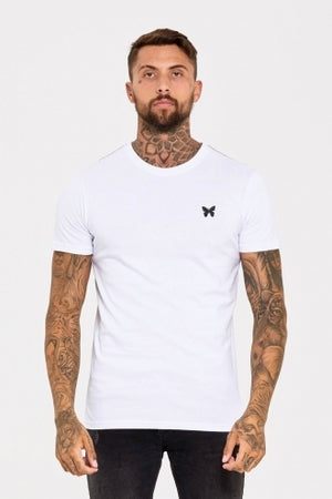 Fitted T-Shirt with Butterfly and Micro Taping - White - ZANMODA