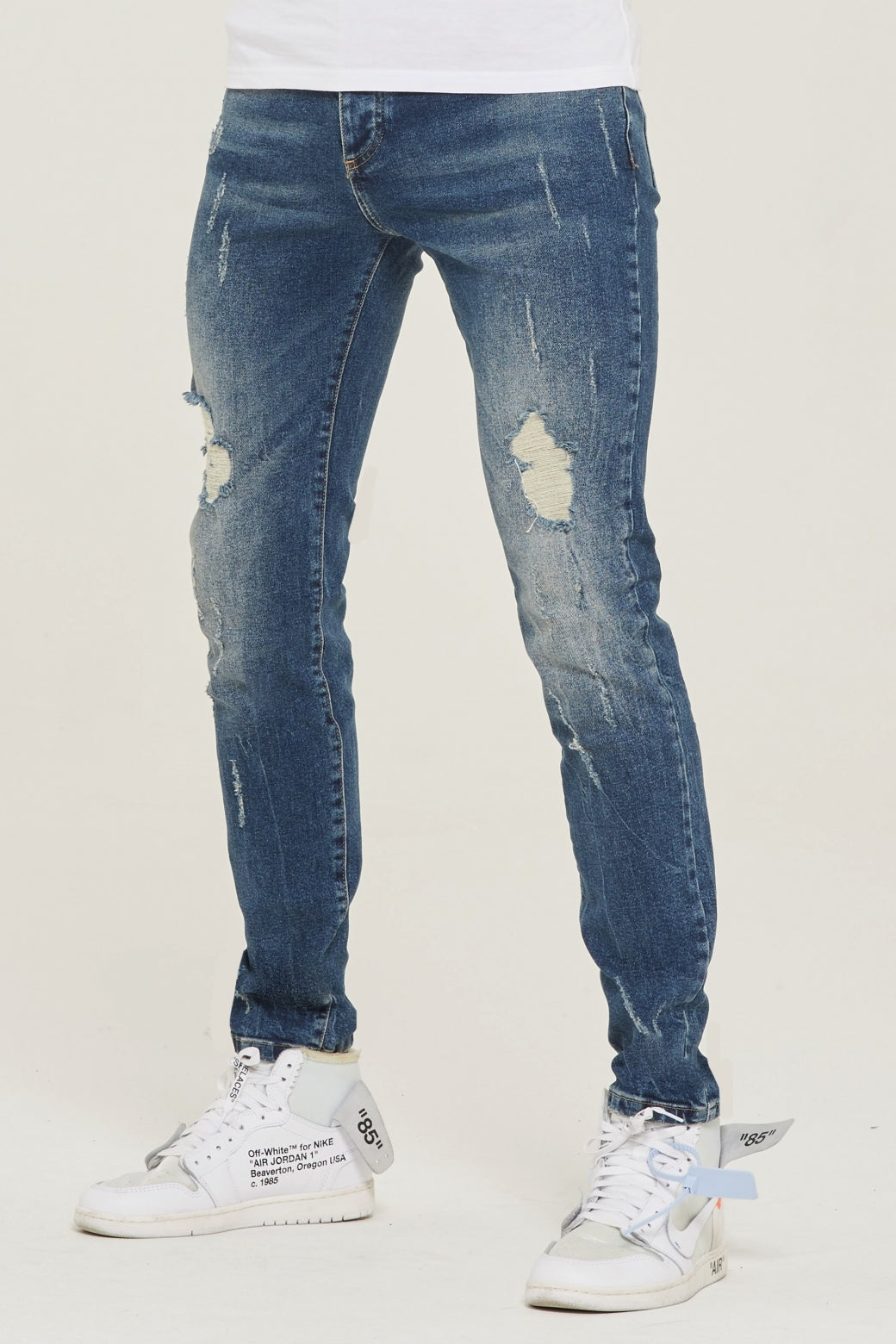 Destroyed Slim Fit Blue Denim Jeans - ZANMODA