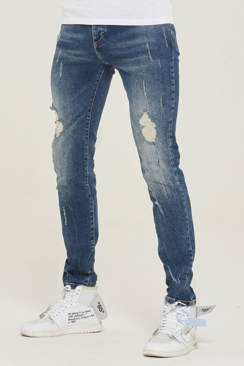 Destroyed Slim Fit Blue Denim Jeans