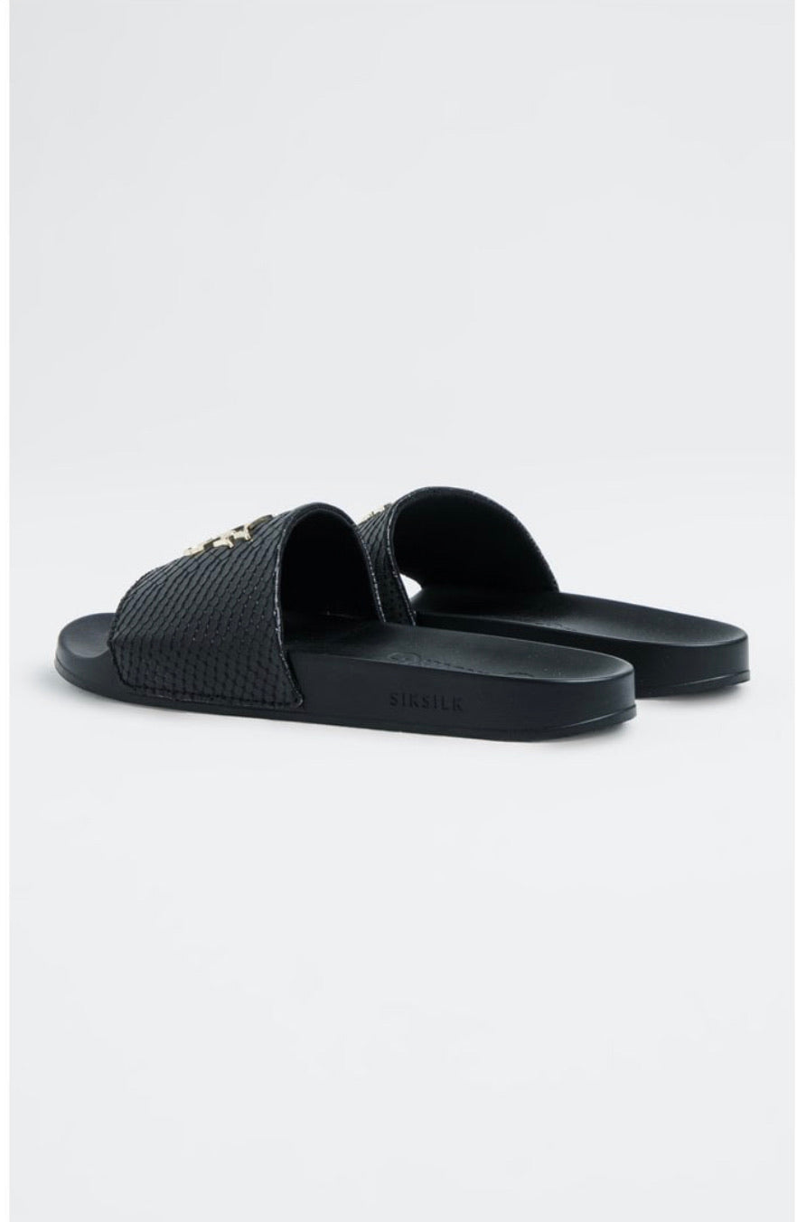 SikSilk Roma Lux Anaconda Slides – Black