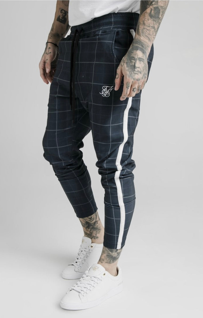 SikSilk  Smart Fitted Tape Pants - Navy