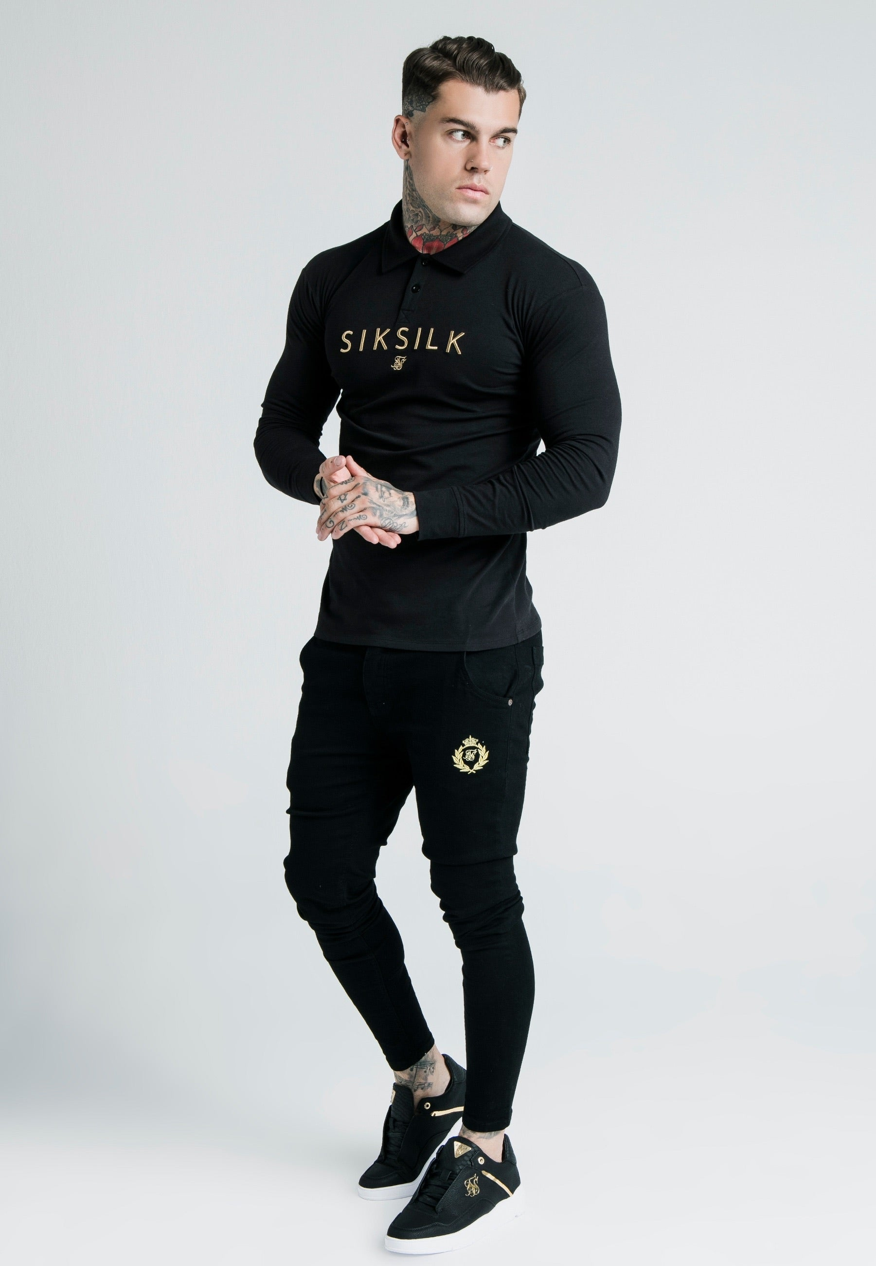 Dani Alves L/S Fitted Polo – Black & Gold