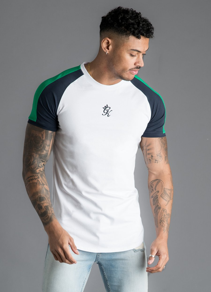 GK Longline Retro Stripe T-Shirt - White/Navy/Green