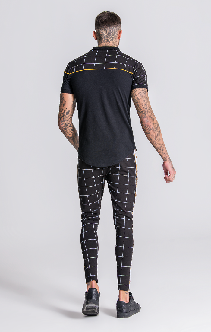 Black And Checked Polo With Piping Detail