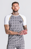 White And Checked Raglan Tee With Piping Detail