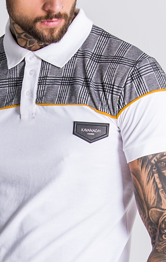 White And Checked Polo With Piping Detail