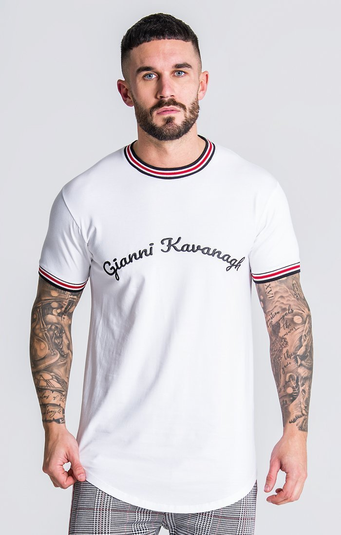 White Tee With Gk Embroidery Description