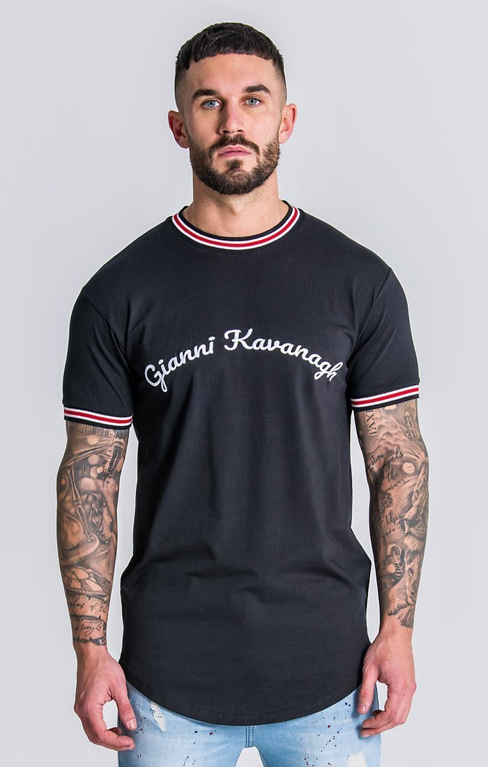 Black Tee With Gk Embroidery Description