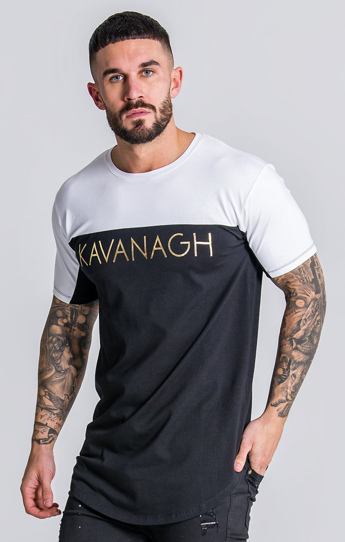 Black Tee With White Panels And Gold Print Description