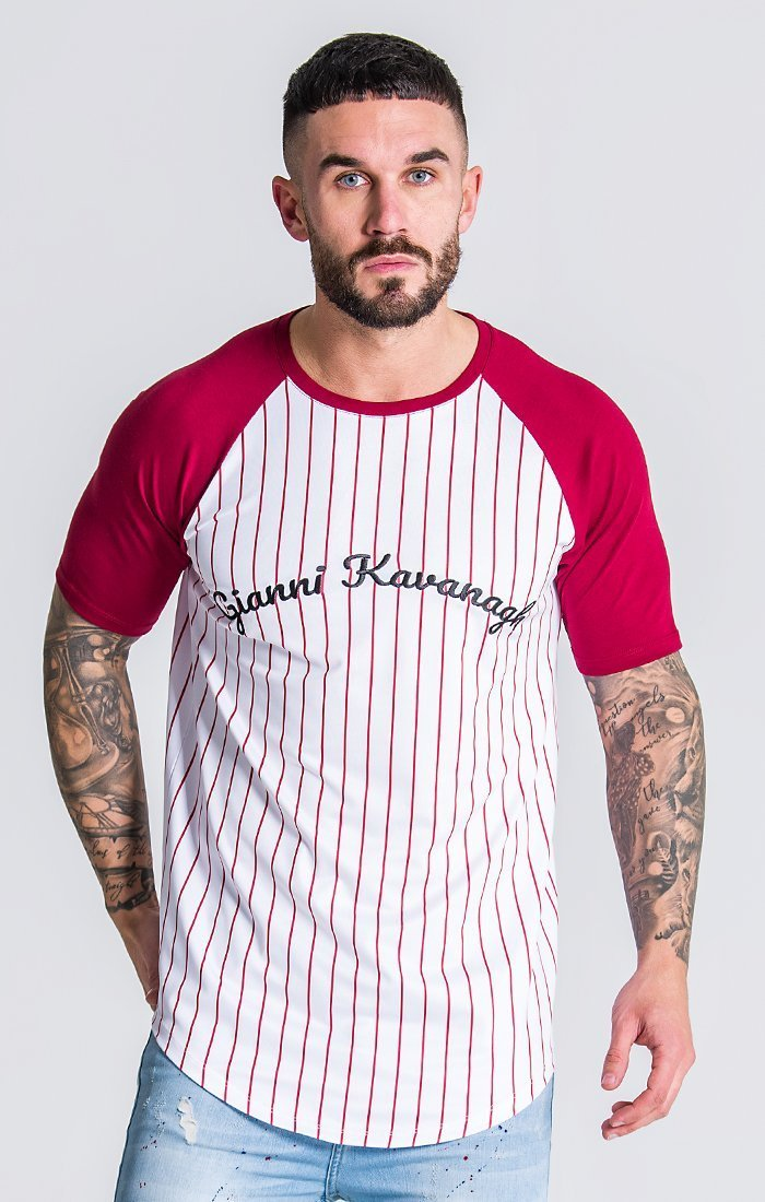 Striped White/Burgundy Tee Description