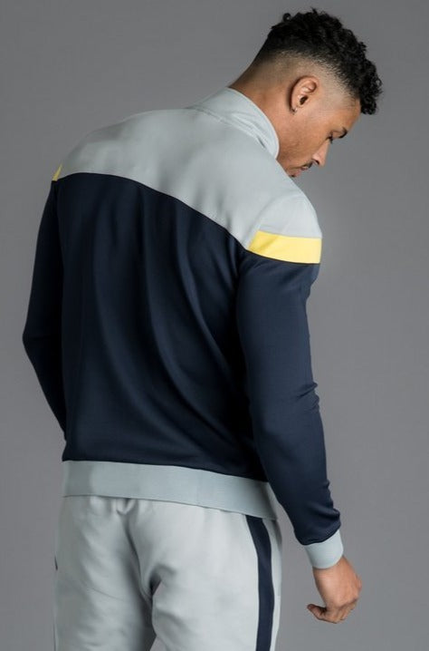 GK Owens Poly Funnel Neck Tracksuit Top - Navy Nights/Grey/Yellow - ZANMODA