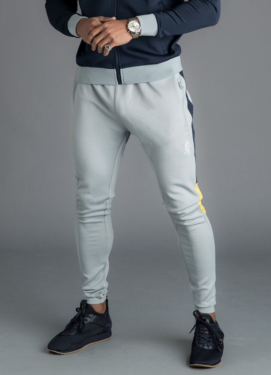 GK Owens Poly Tracksuit Bottoms - Navy Nights/Grey/Yellow - ZANMODA