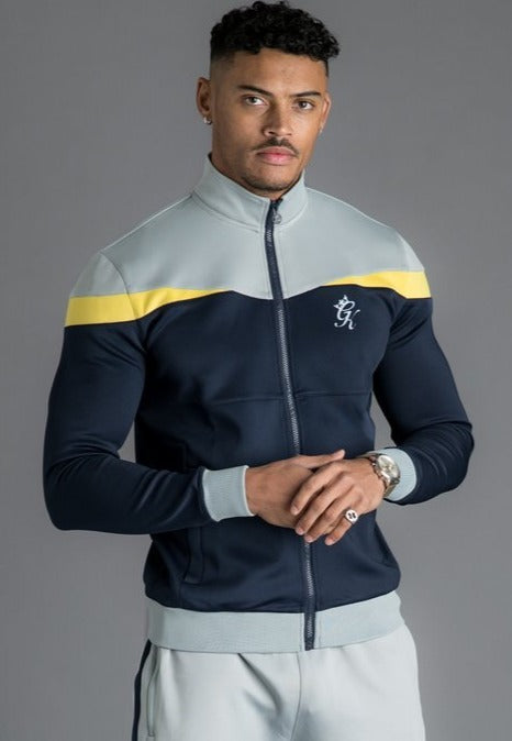 GK Owens Poly Funnel Neck Tracksuit Top - Navy Nights/Grey/Yellow