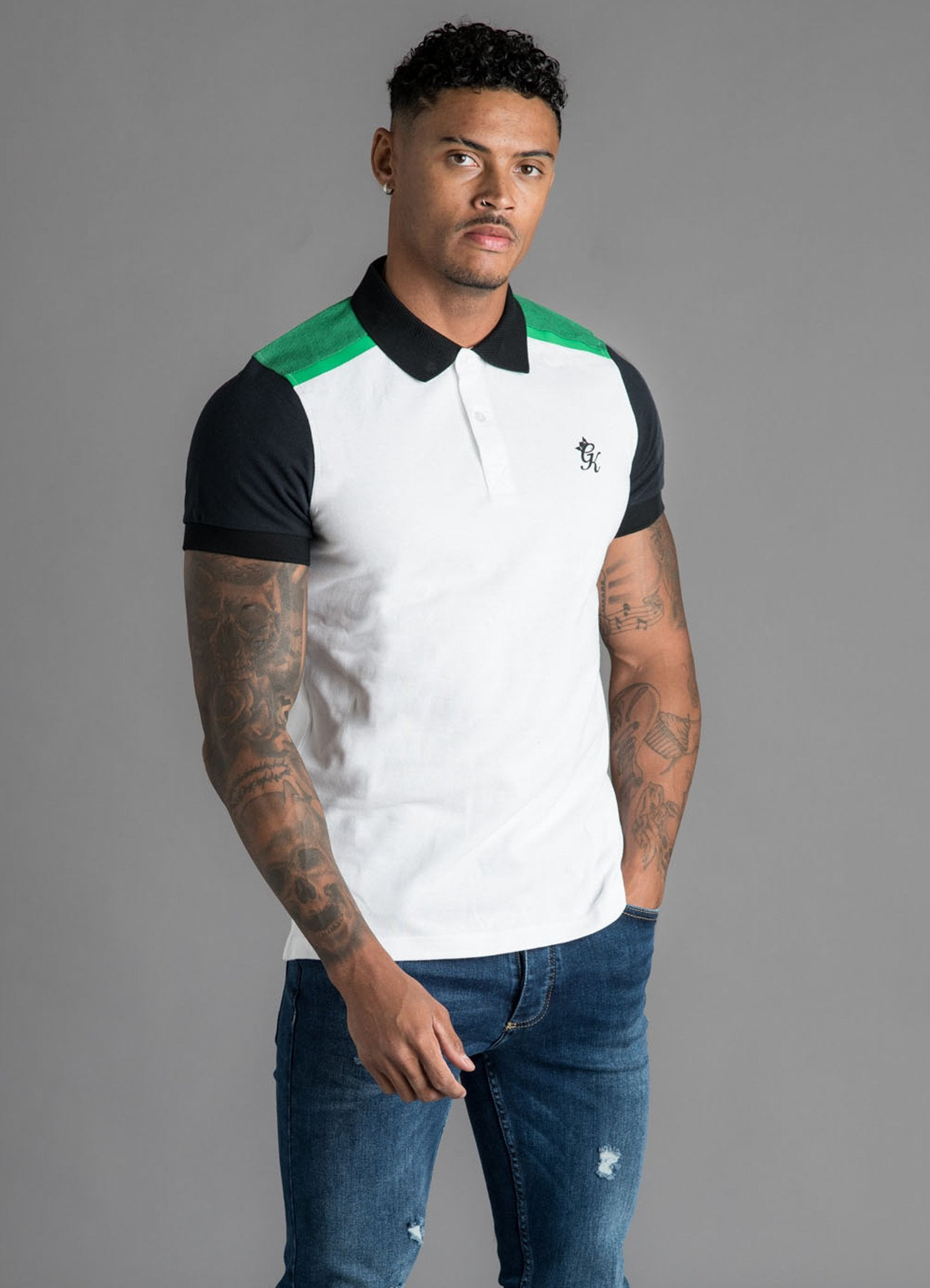 GK Rossi Shortsleeve Pique Polo - White/Black/Green