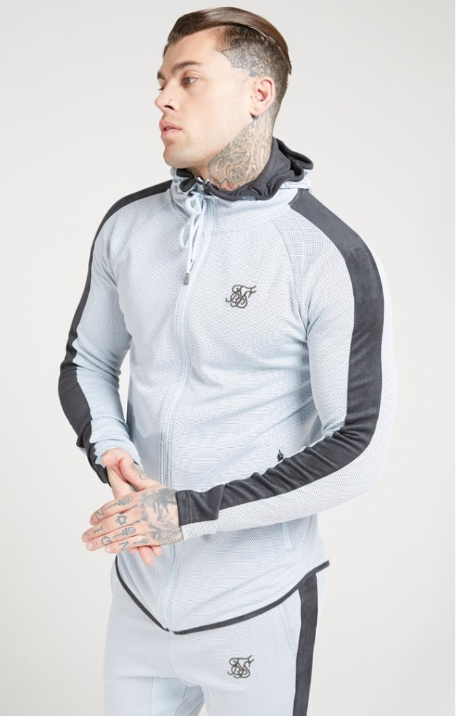 SikSilk Athlete Eyelet Zip Through Hoodie – Ice Grey & Charcoal - ZANMODA