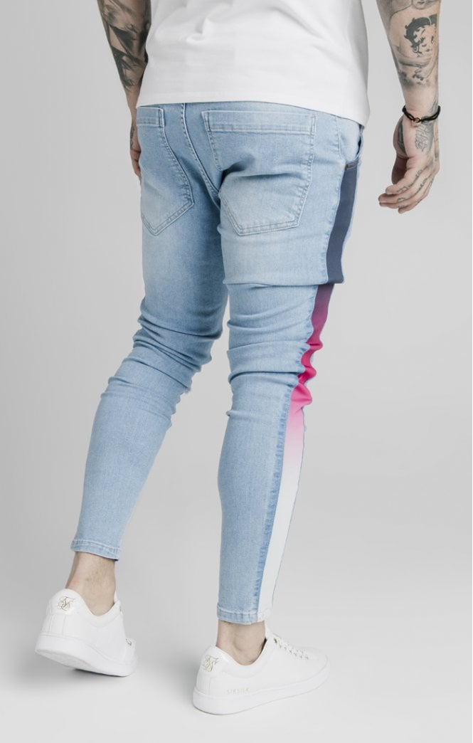 SikSilk Bust Knee Low Rise Denims - Light Blue