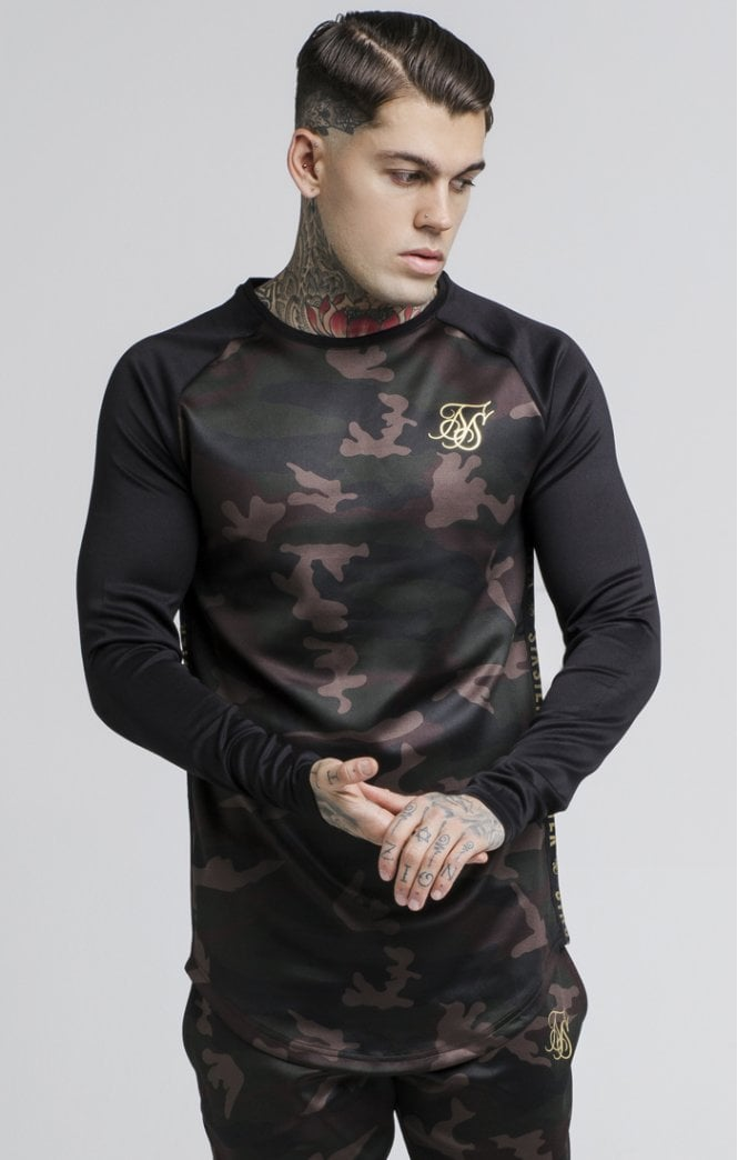 SikSilk Camo Fade Crew Sweater – Black and Camo