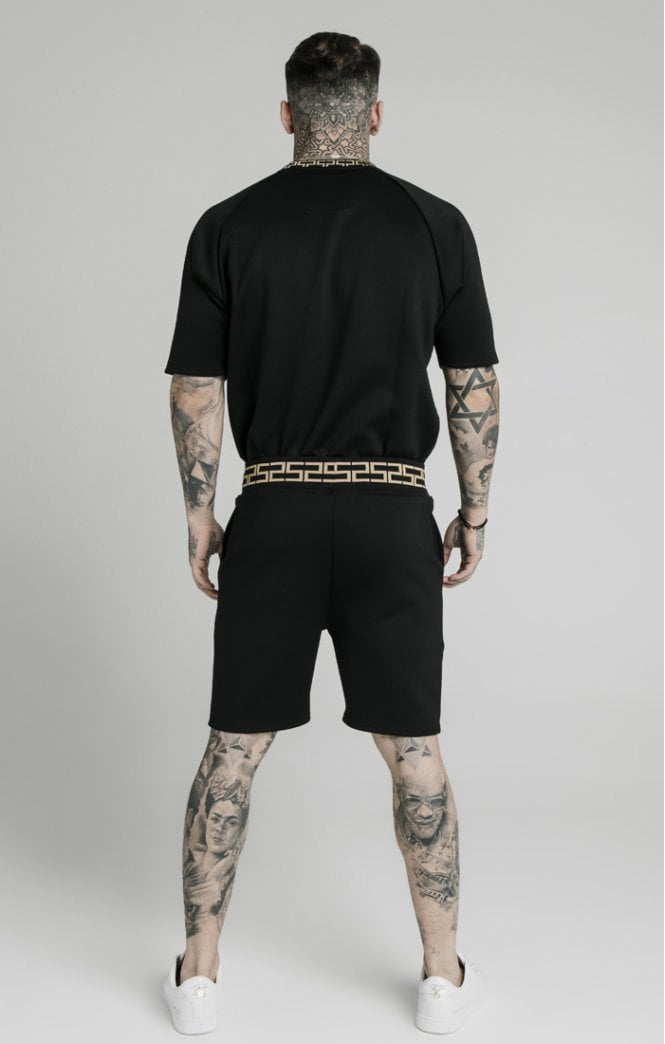 SikSilk Chain Rib Relaxed Shorts - Black