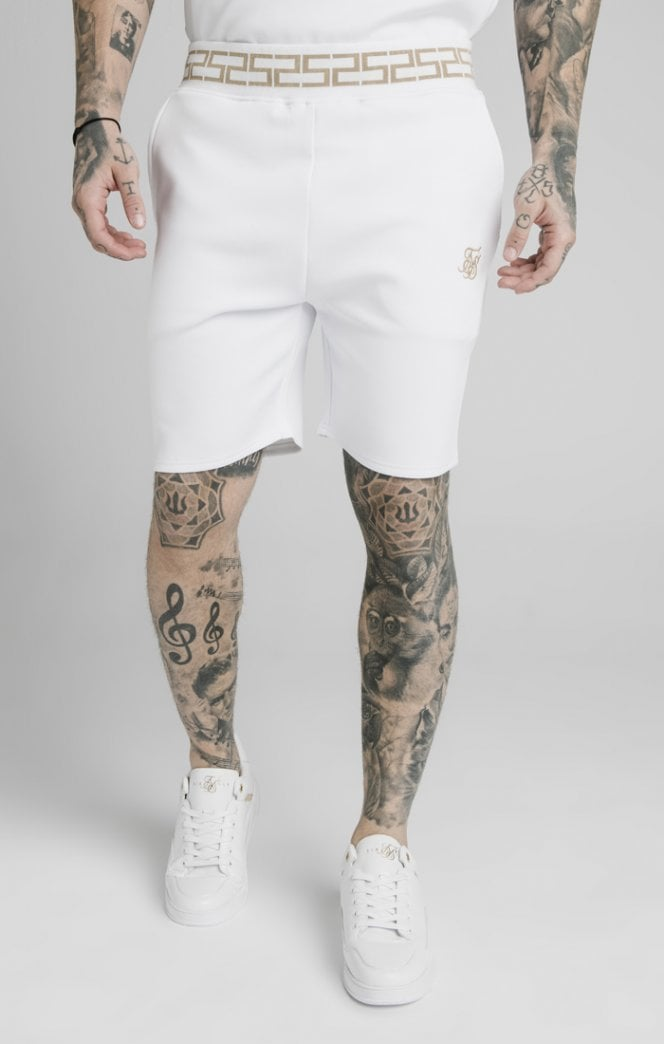 SikSilk Chain Rib Relaxed Shorts - White