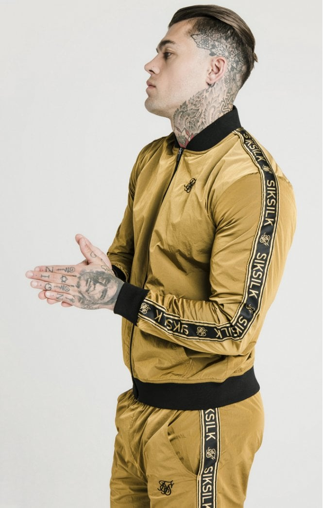 SikSilk Crushed Nylon Tape Bomber – Golden Mustard
