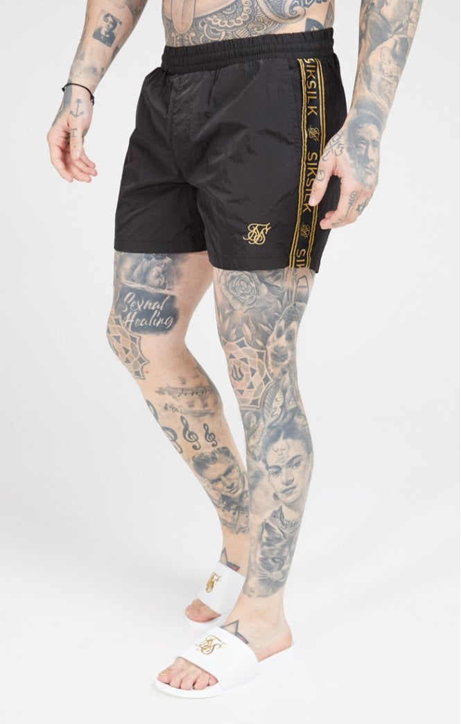SikSilk Crushed Nylon Tape Shorts – Black & Gold - ZANMODA