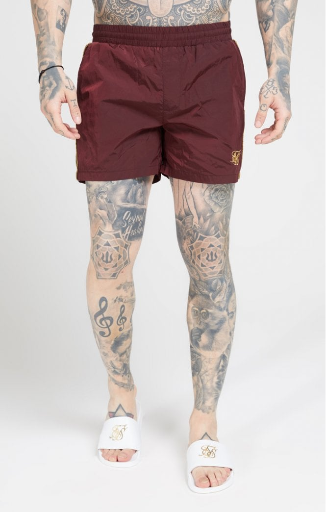 SikSilk Crushed Nylon Tape Shorts – Burgundy & Gold - ZANMODA