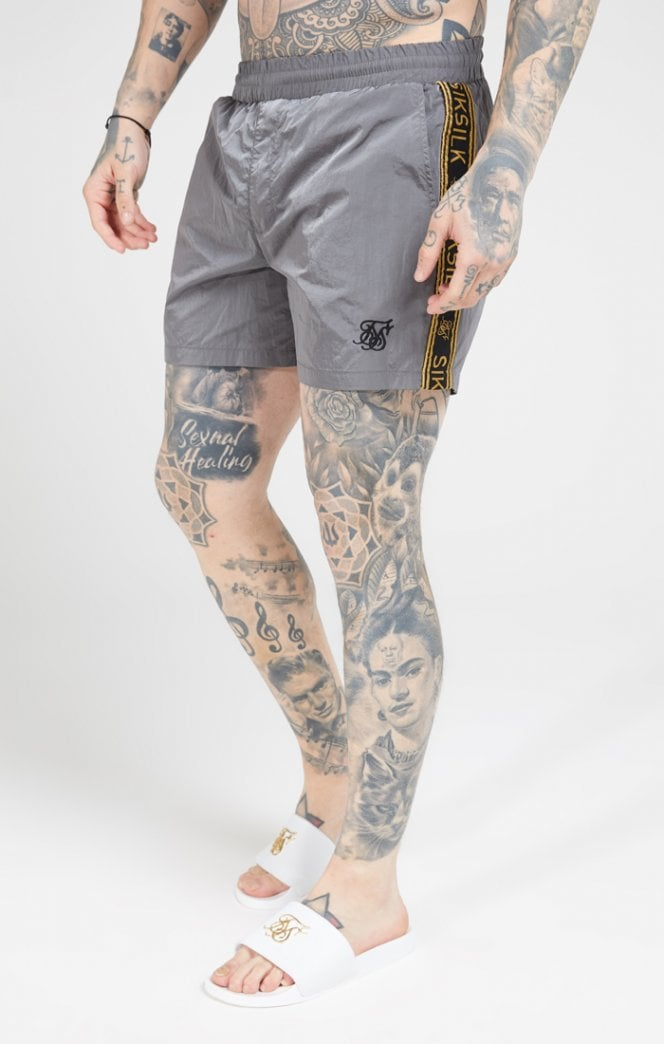 SikSilk Crushed Nylon Tape Shorts – Grey & Gold Code - ZANMODA