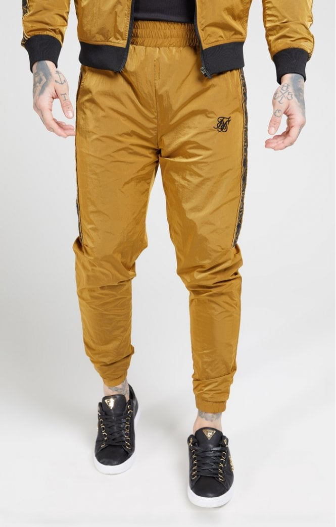 SikSilk Crushed Nylon Taped Joggers – Golden Mustard