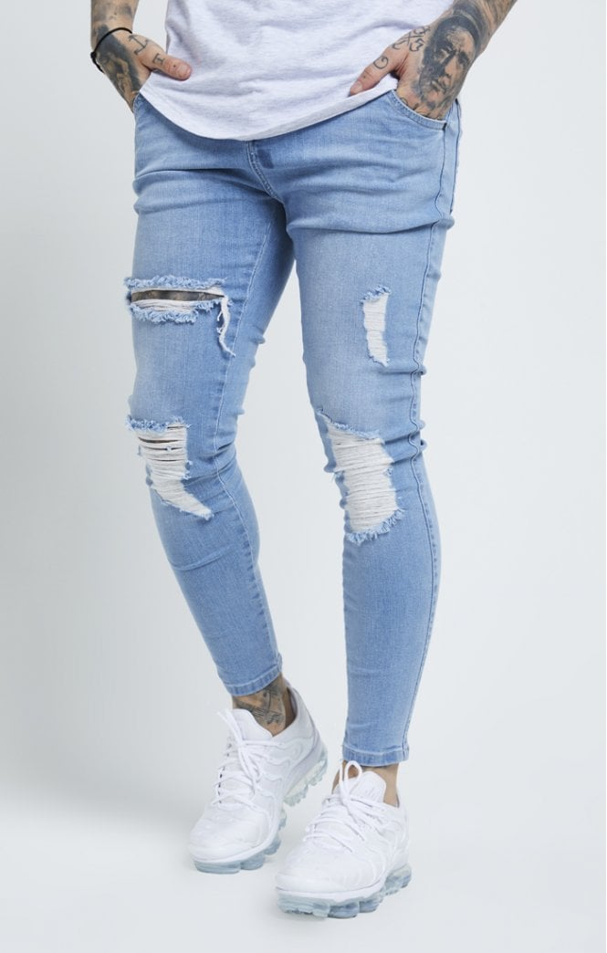 SikSilk Distressed Skinny Denim – Light Wash