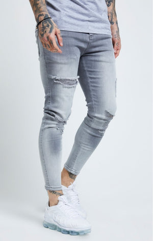 Distressed Skinny Jeans – Washed Grey - ZANMODA