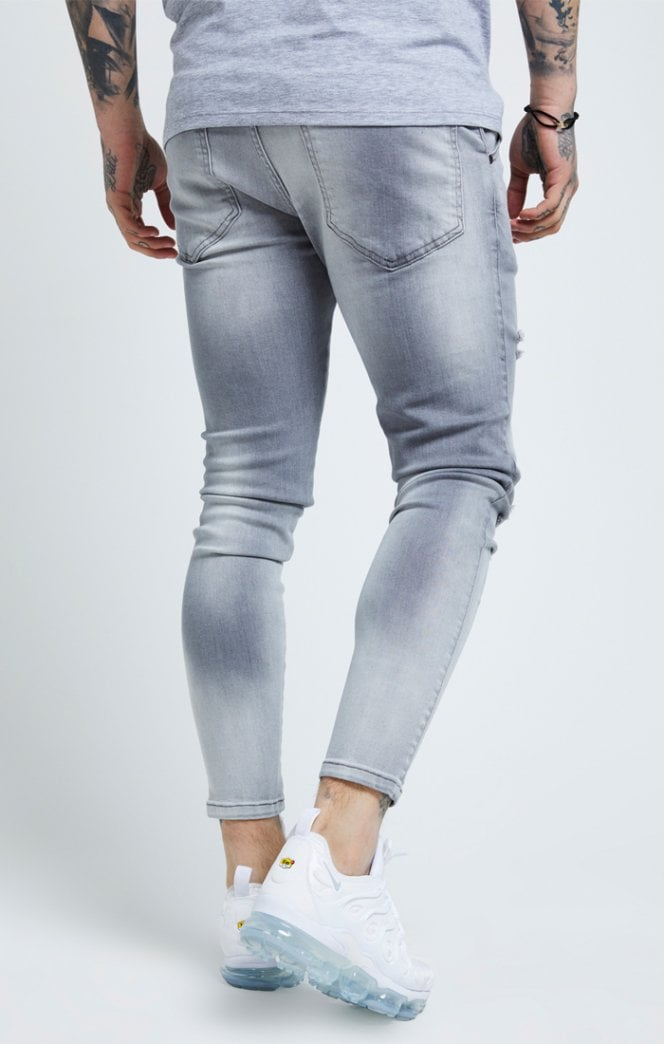 Distressed Skinny Jeans – Washed Grey