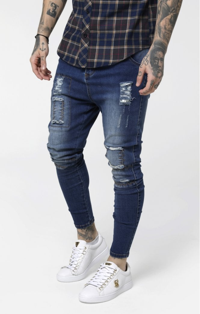 Drop Crotch Patch Denims – Rich Midstone Blue - ZANMODA
